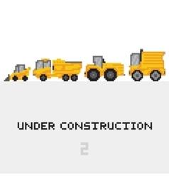 Under construction vehicles set in pixel vector image