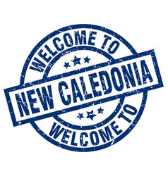 Welcome to new caledonia blue stamp vector
