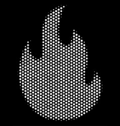 White dotted fire flame icon vector