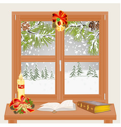 winter window with christmas candle and old books vector image