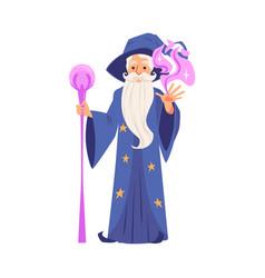 Wizard or magician creates magic flat vector