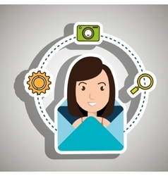 Woman cartoon email camera search vector