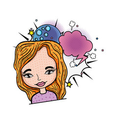 woman with moon and speech bubble pop art vector image