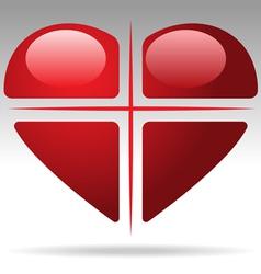 cross heart vector image vector image