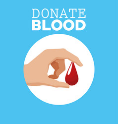 donate blood hand with drop vector image