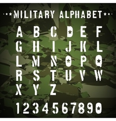 Military stencil alphabet on a camouflage vector image