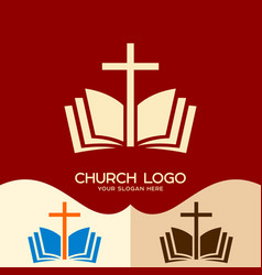 the cross of jesus and the open bible vector image