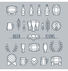 Beer icons set isolated on grey vector image vector image