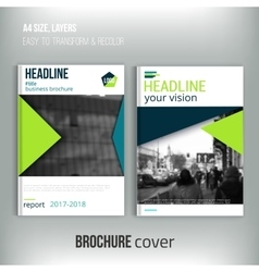 Clean brochure cover template with blured city vector image