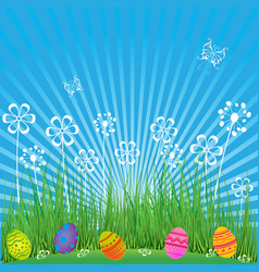 easter background with cute eggs flowers and vector image