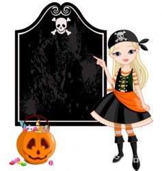 halloween pirate girl pointing vector image vector image