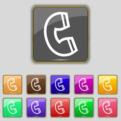 handset icon sign Set with eleven colored buttons vector image vector image