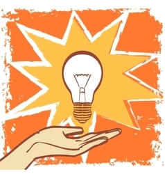 Light bulb in pop art hipster vintage style vector image vector image