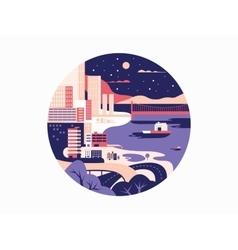 Night megapolis flat design vector image