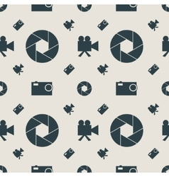 Photo and video camera flat icons seamless pattern vector image
