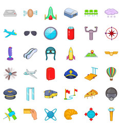 airport terminal icons set cartoon style vector image