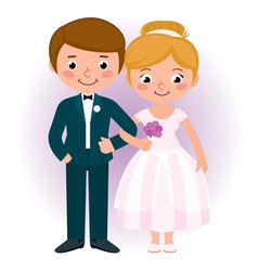 Couple newlyweds bride and groom vector