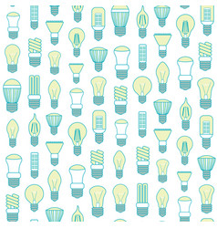 different lamp or light bulbs line background vector image