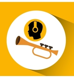 head silhouette listening music trumpet vector image vector image