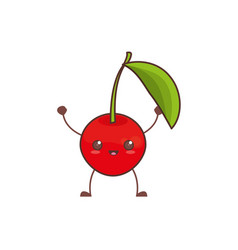 kawaii cherry fruit image vector image