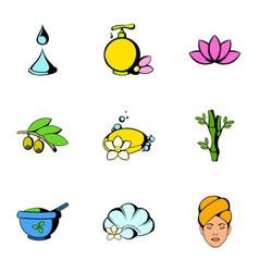 massage icons set cartoon style vector image
