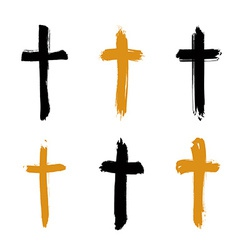 Set of hand-drawn black and yellow grunge cross vector image vector image