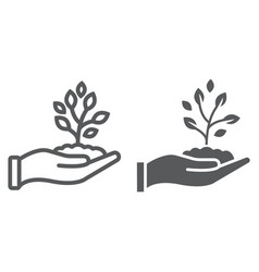 sprout in hand line and glyph icon farming vector image