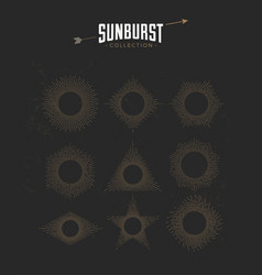 vintage styled sunburst set collection vector image