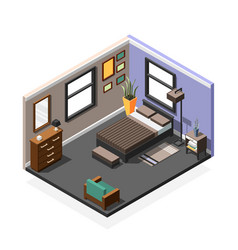 bedroom isometric interior composition vector image