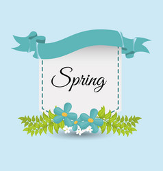 cute spring card flower and ribbo vector image