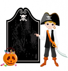 halloween pirate pointing vector image