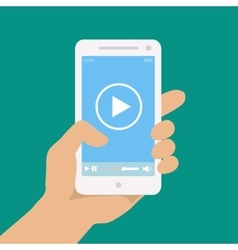 Mobile phone with video player on the screen in a vector image vector image