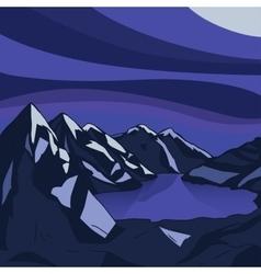 Night mountain Glacial lake landscape vector image vector image
