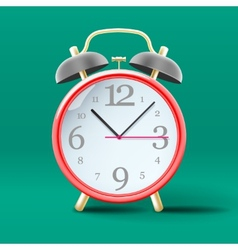 Red vintage alarm clock on green background vector image vector image
