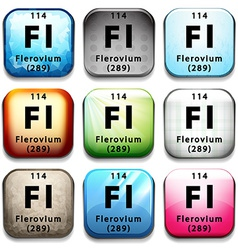 A button with the chemical Flerovium vector