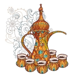 Arabic coffee maker dalla with cups vector