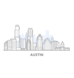 Austin city skyline texas - outline downtown vector
