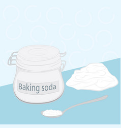 Baking soda in a glass jar and in a spoon vector