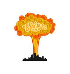 bitcoin explosion in city big cloud crypto vector image