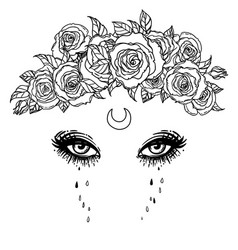 Black and white drawing beautiful eyes with vector