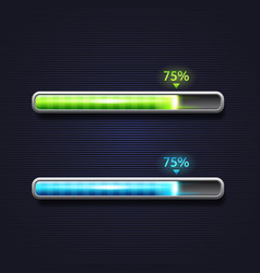 Blue and green progress bar loading template for vector