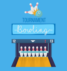 bowling tournament poster in blue colors 3d vector image