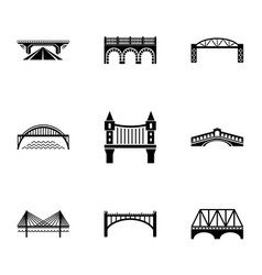 bridge icons set simple style vector image
