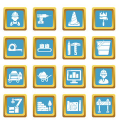 Building process icons set sapphirine square vector