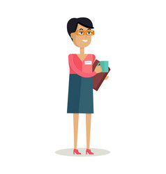 Business woman with cup vector