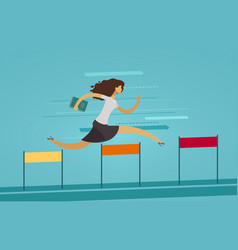 Businesswoman runs on obstacle course business vector