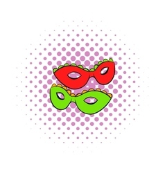 Carnival masks icon comics style vector image
