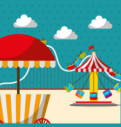 Carousel chair roller coaster and food booth vector