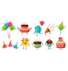 Cartoon birthday celebration set party balloons vector