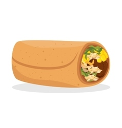 Cartoon burrito food mexico design isolated vector